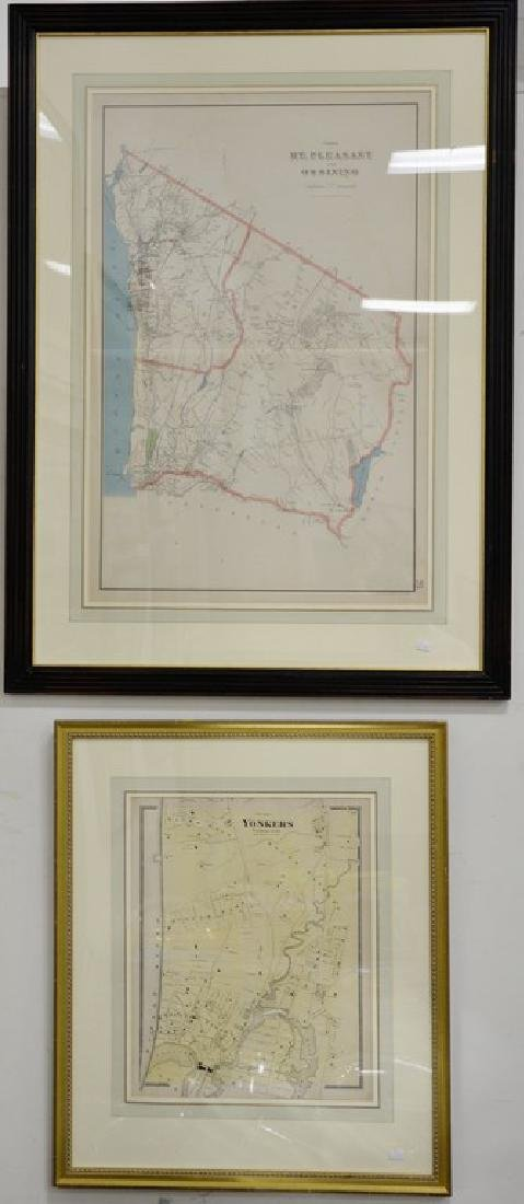 Four New York maps including hand colored lithograph