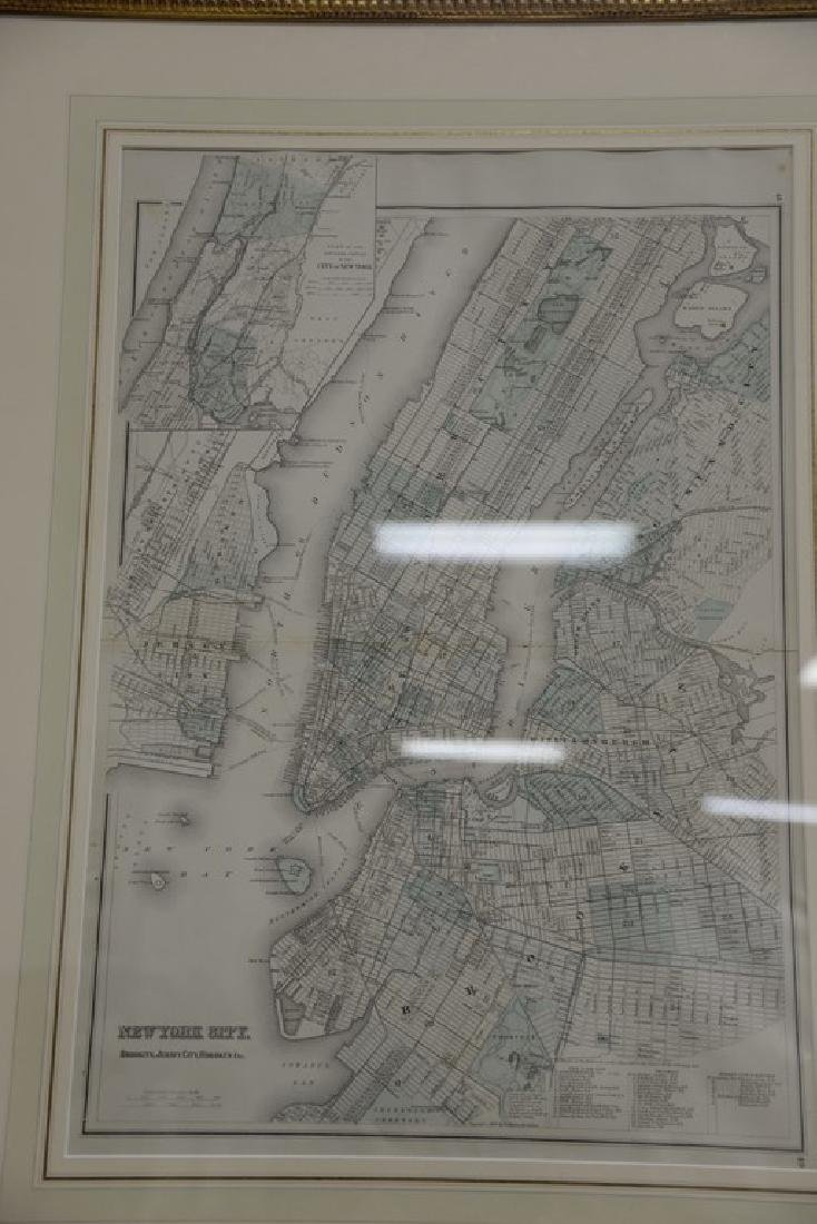 Four New York maps including hand colored lithograph - 5