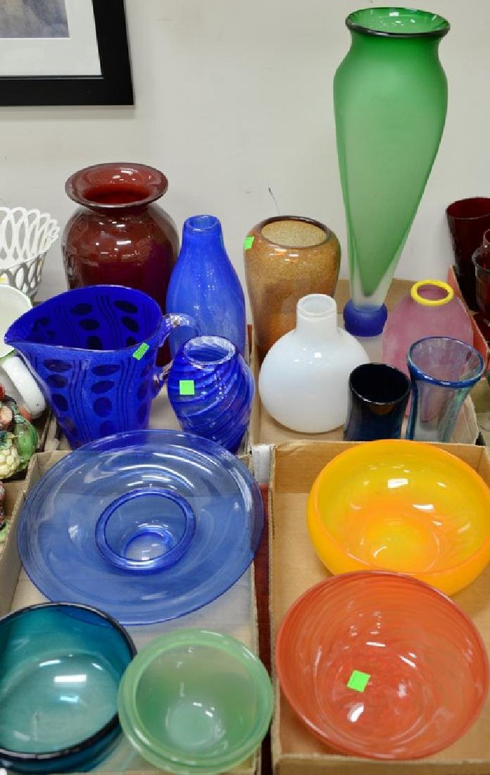 Four box lots of art glass vases and bowls, Murano
