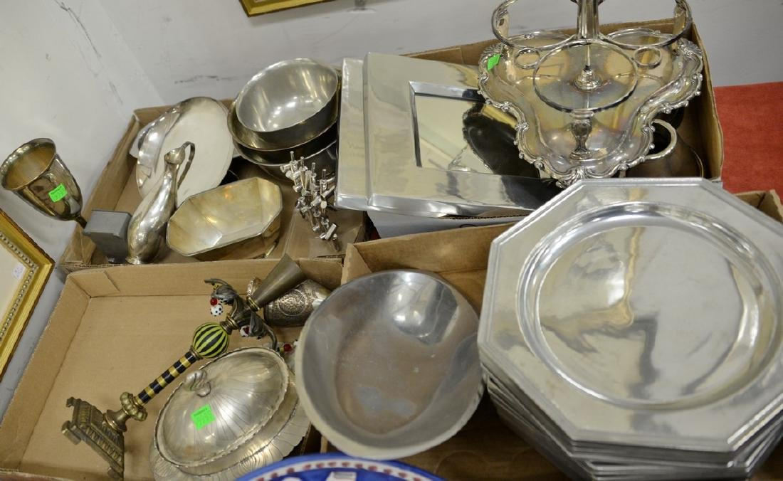 Four box lots with silver and pewter to include Pewter