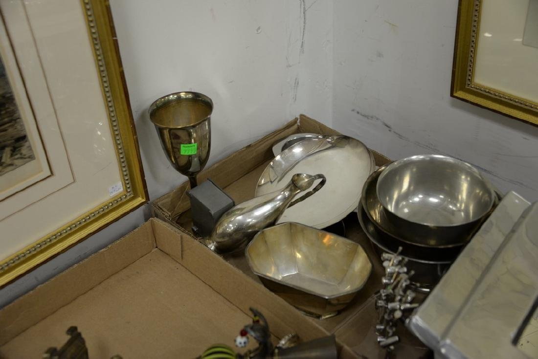 Four box lots with silver and pewter to include Pewter - 2