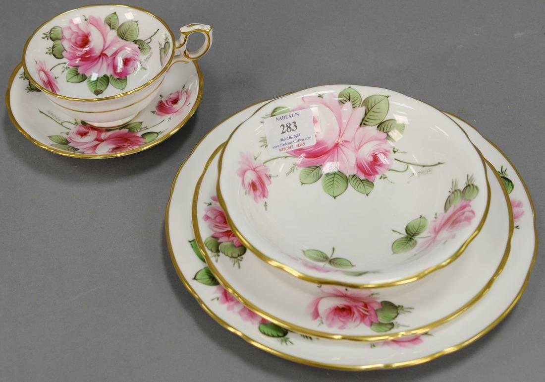 Hammersley & Co. rose china dinnerware set, 103 total