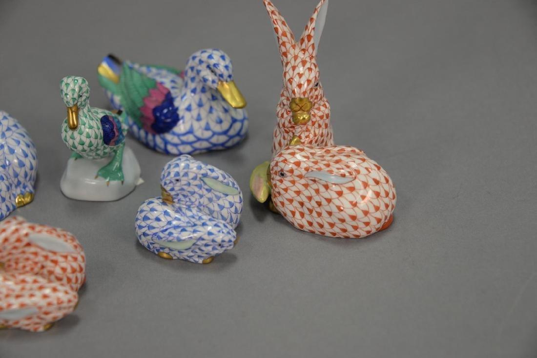 Group of nine Herend fishnet animal figures including - 2