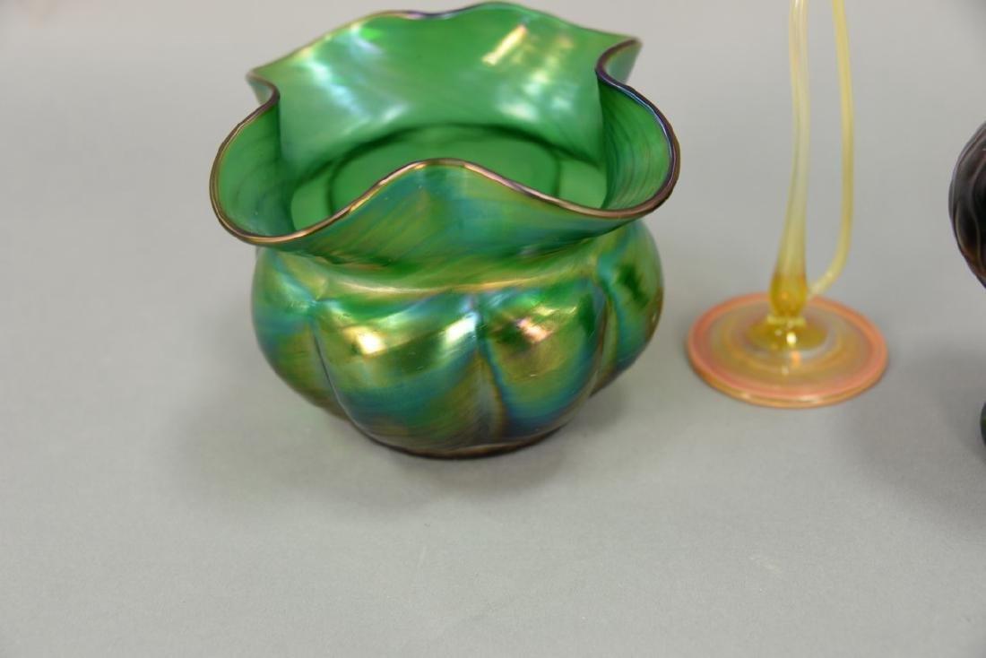 Three vases including Loetz art glass vase with ground - 3
