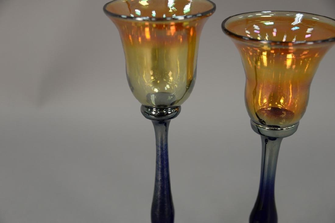 Set of thirteen Rick Strini art glass stemware, amber - 2