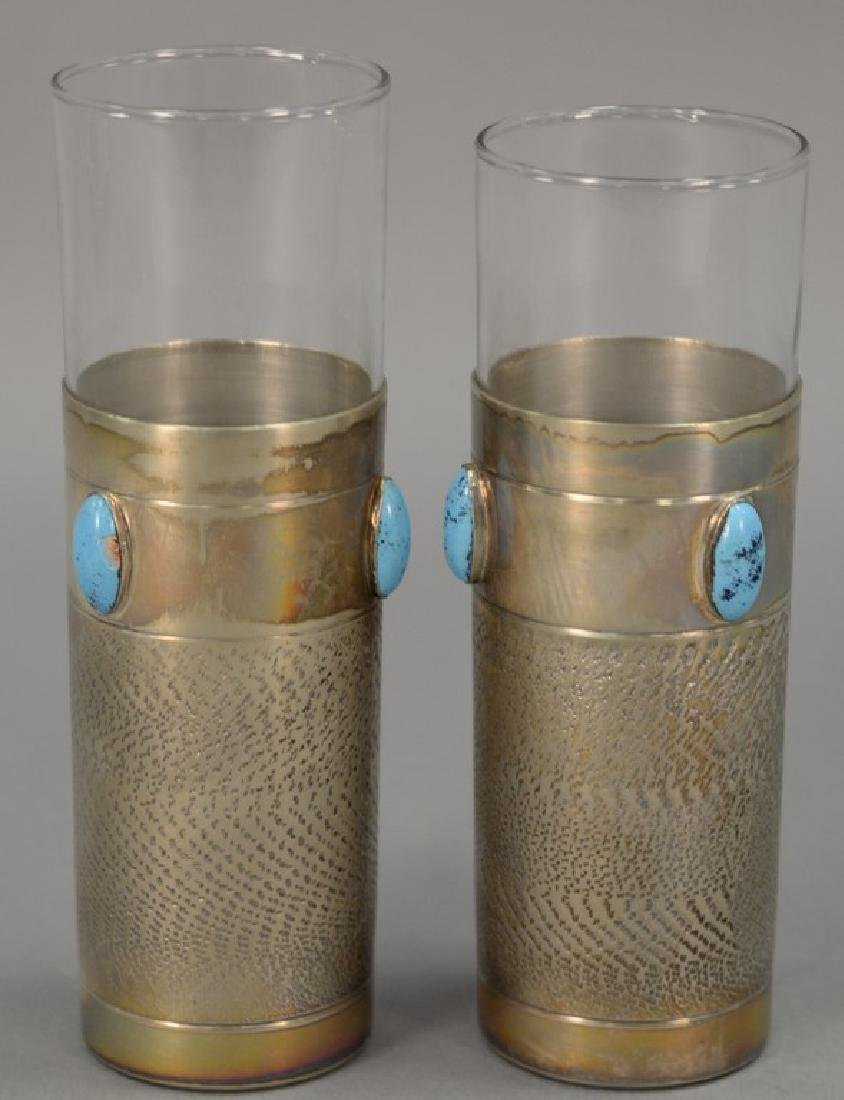 Set of twelve silver cup liners with turquoise enameled