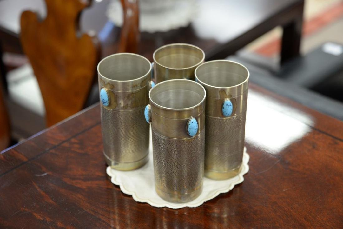 Set of twelve silver cup liners with turquoise enameled - 8