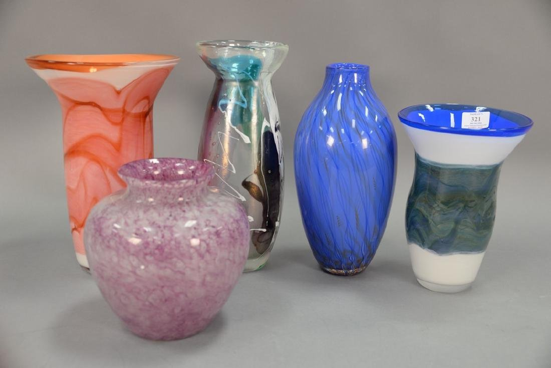 Five art glass vases, one with Murano label having