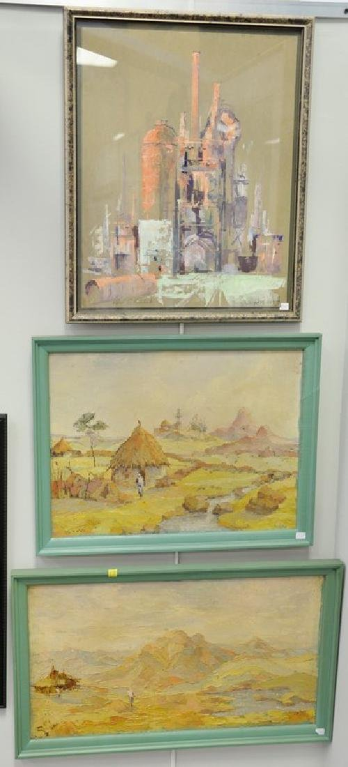 Seven framed paintings: five Alfred Vetromile mixed