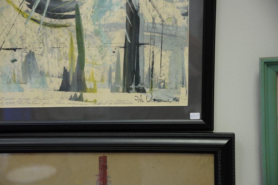 Seven framed paintings: five Alfred Vetromile mixed - 3