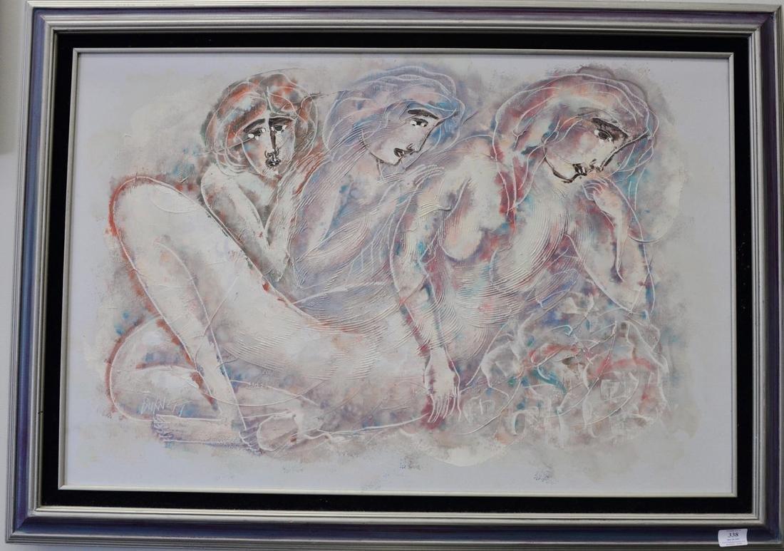 Calvin Waller Burnett (1921-2007), oil on canvas, Three