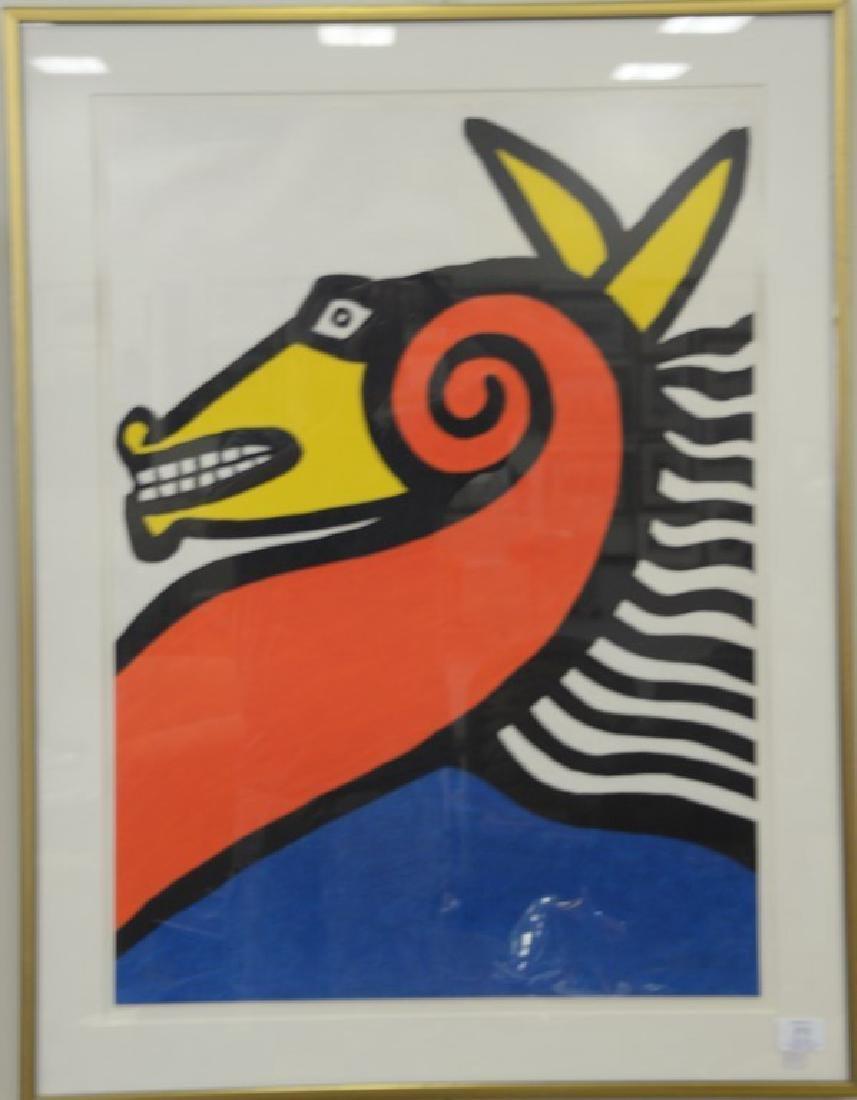 Alexander Calder, colored lithograph, Seahorse 1975,