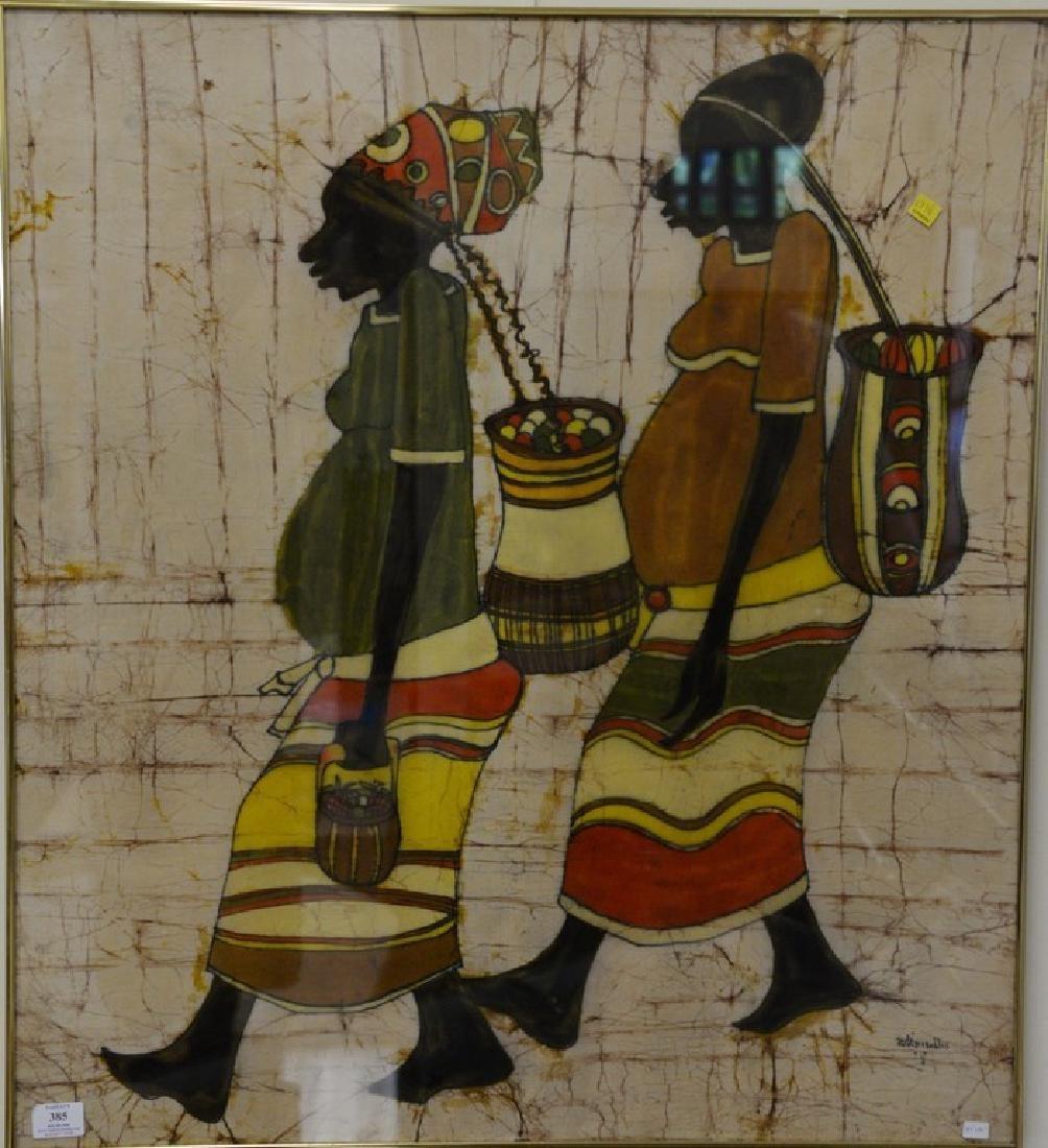 African/Nigerian Batik dye cloth of two people walking