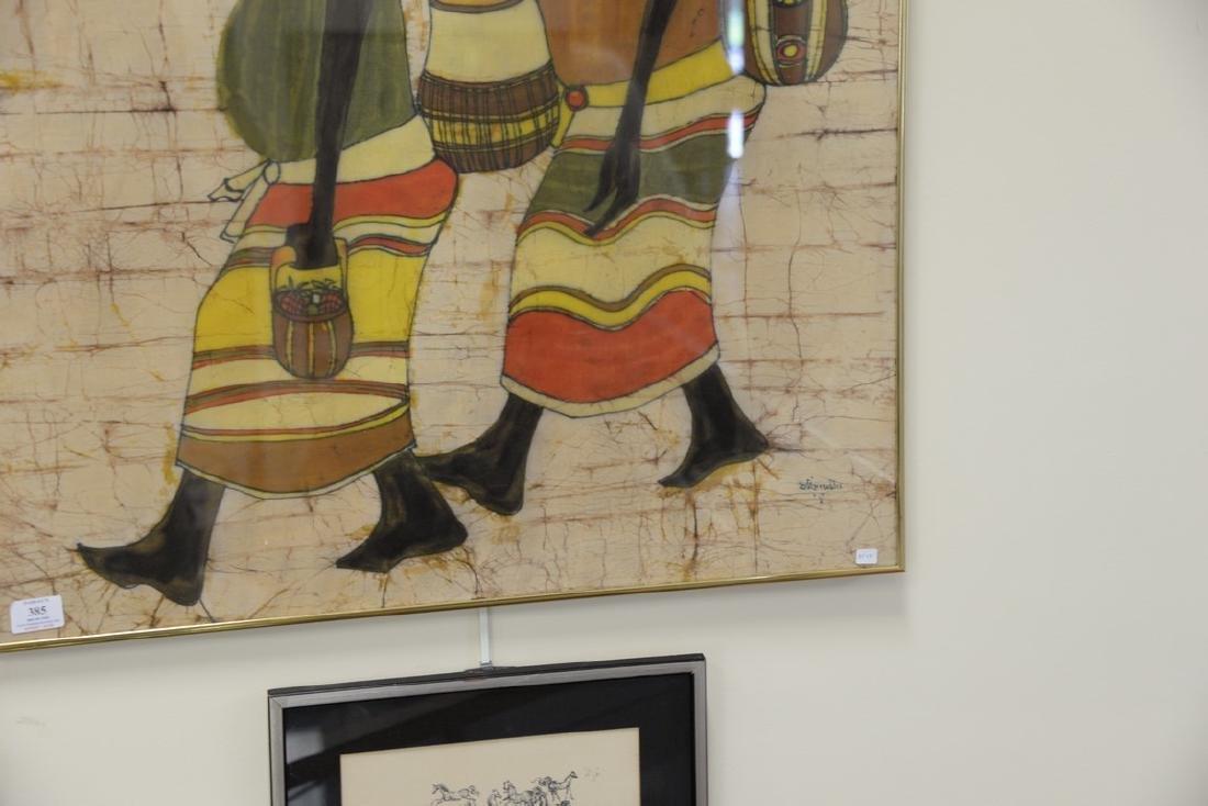 African/Nigerian Batik dye cloth of two people walking - 2
