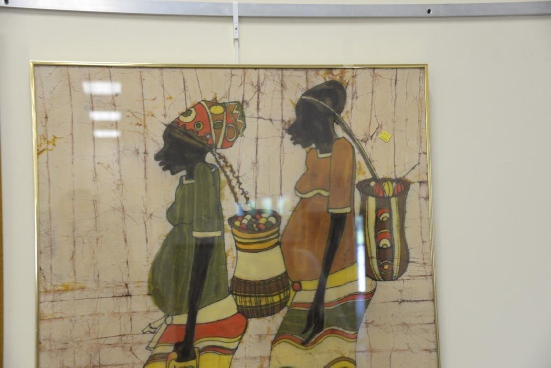 African/Nigerian Batik dye cloth of two people walking - 4