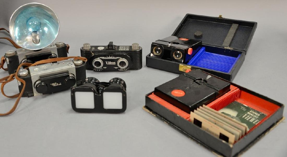 One box lot: Group lot of Stereo cameras and viewers