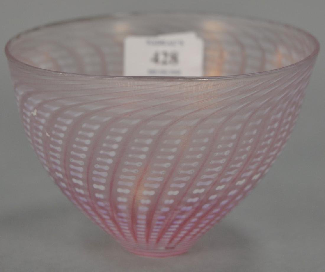 Art glass bowl, pink luster basket weave style,