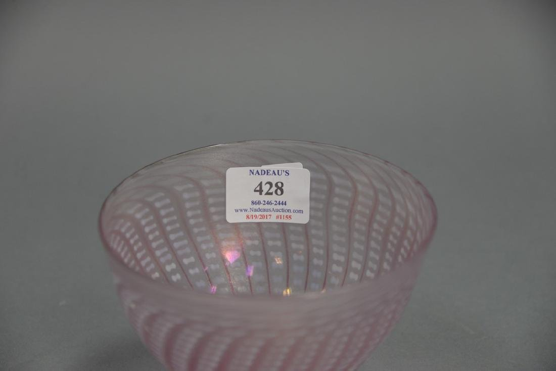 Art glass bowl, pink luster basket weave style, - 2