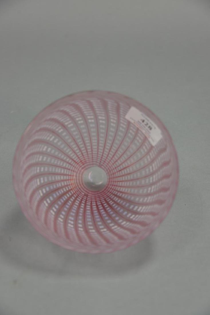 Art glass bowl, pink luster basket weave style, - 3