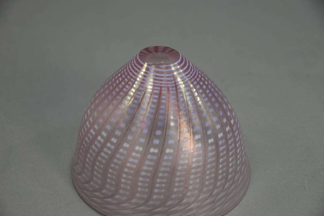 Art glass bowl, pink luster basket weave style, - 4
