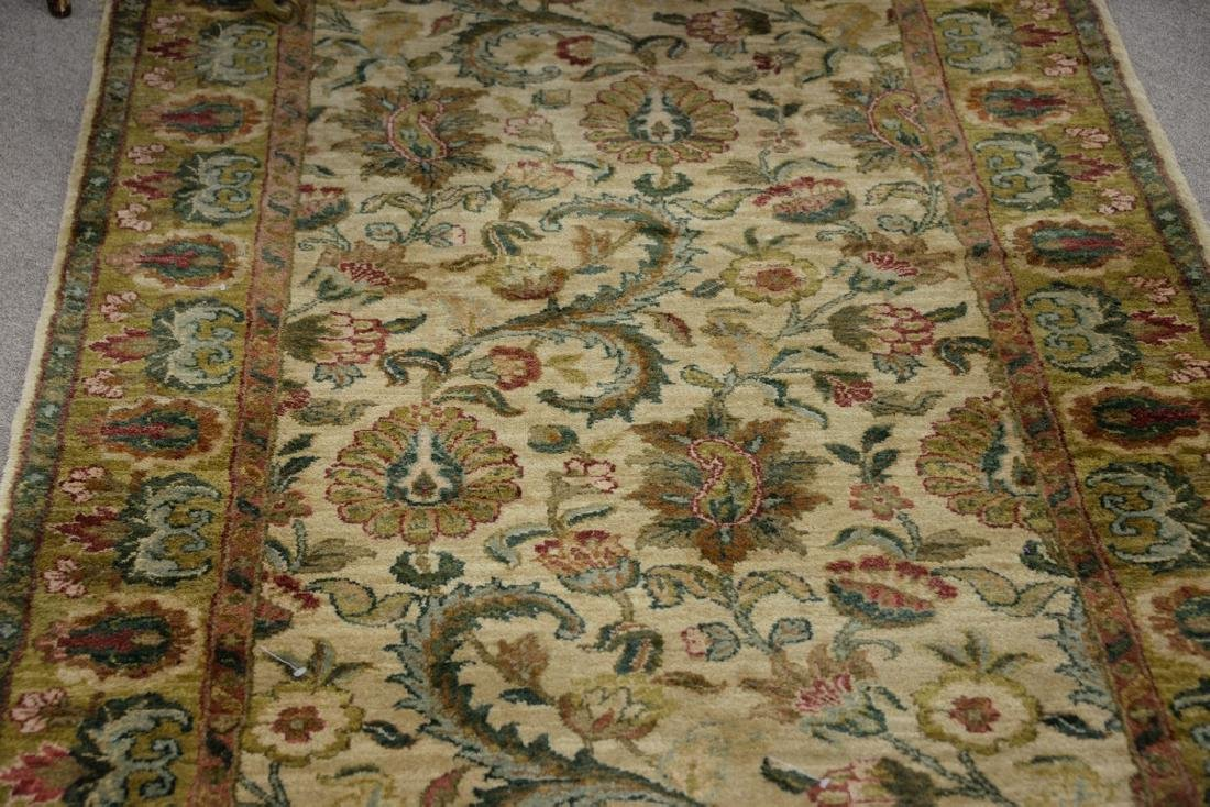 Oriental carpet runner, green and tan. 4' x 12' - 2