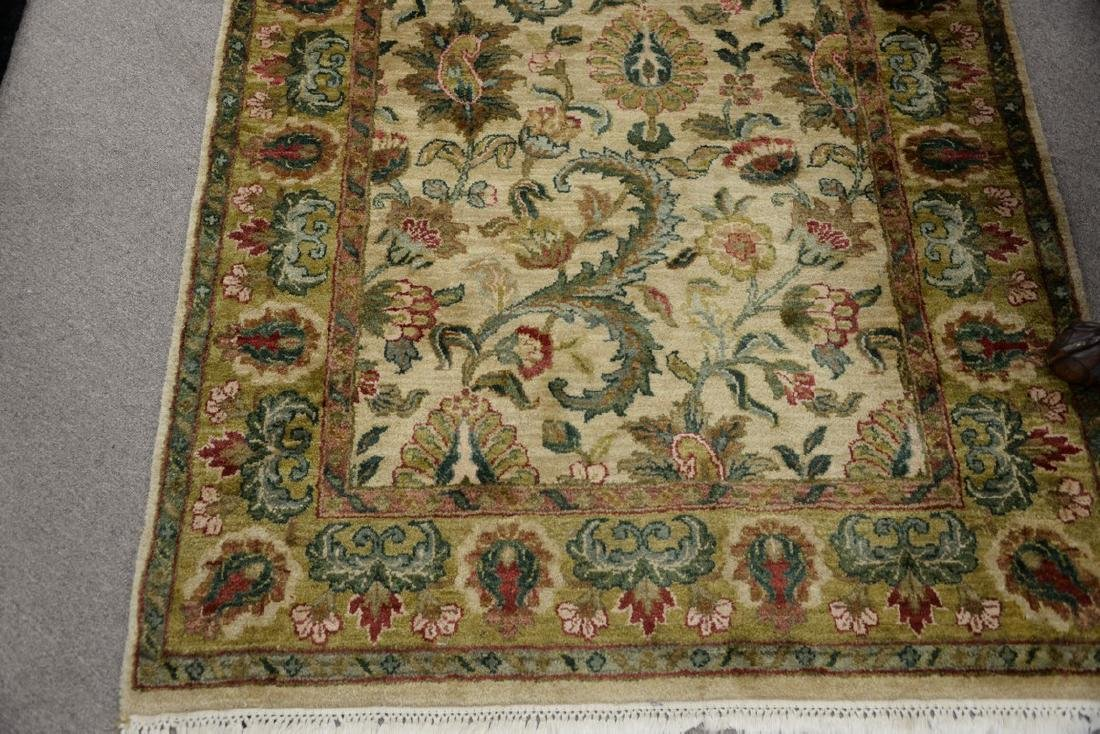 Oriental carpet runner, green and tan. 4' x 12' - 3