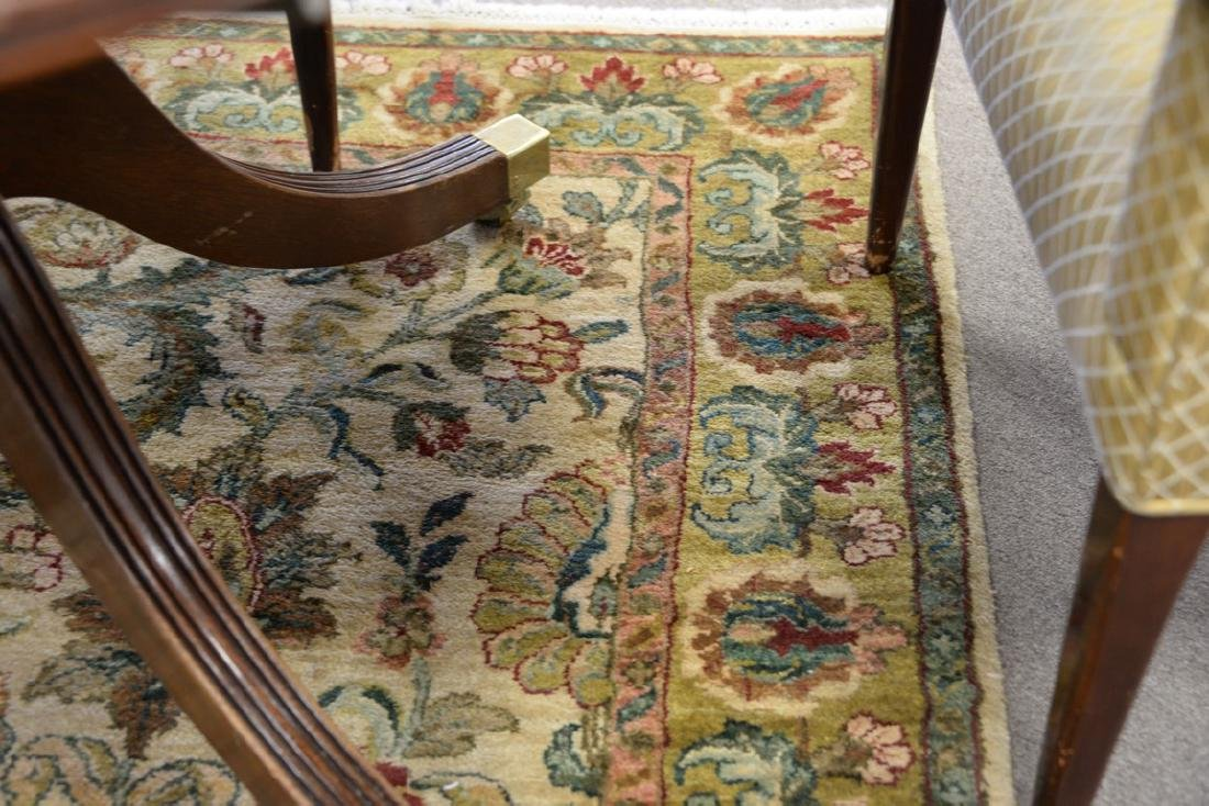 Oriental carpet runner, green and tan. 4' x 12' - 4