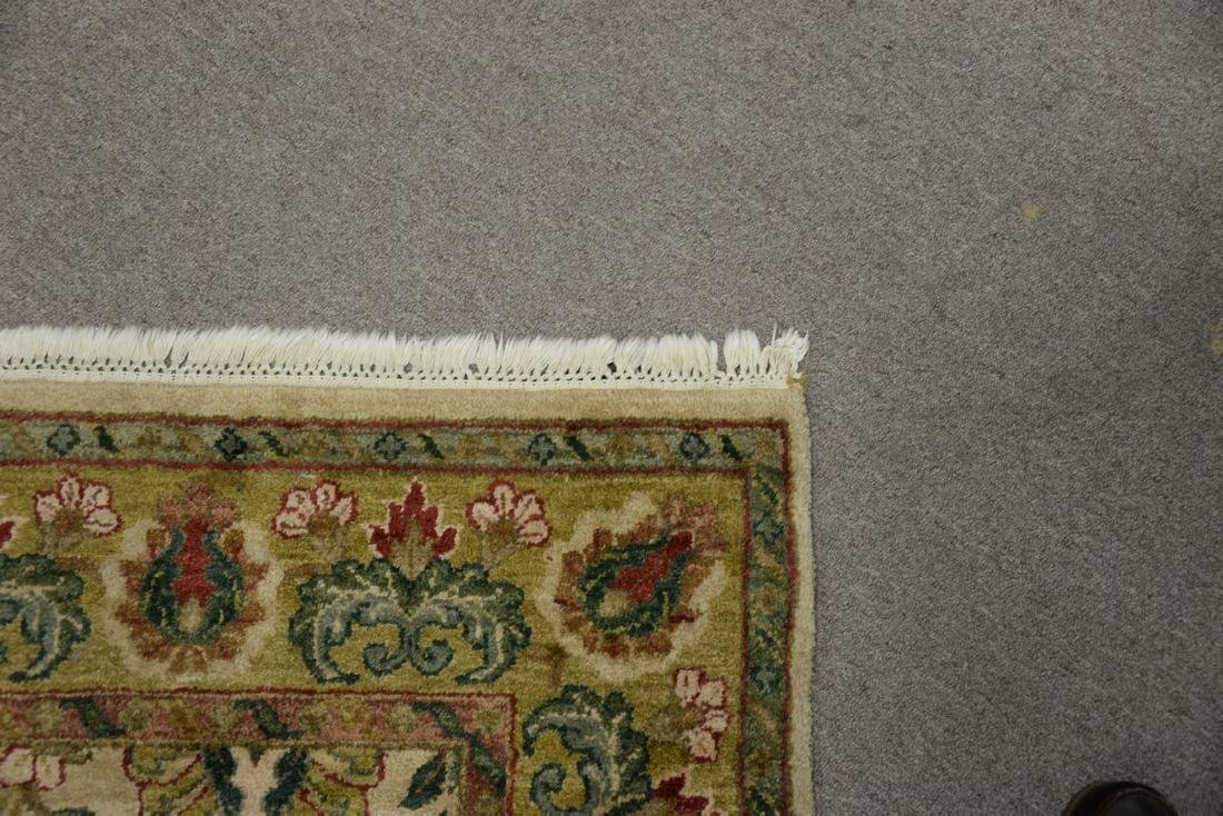 Oriental carpet runner, green and tan. 4' x 12' - 5