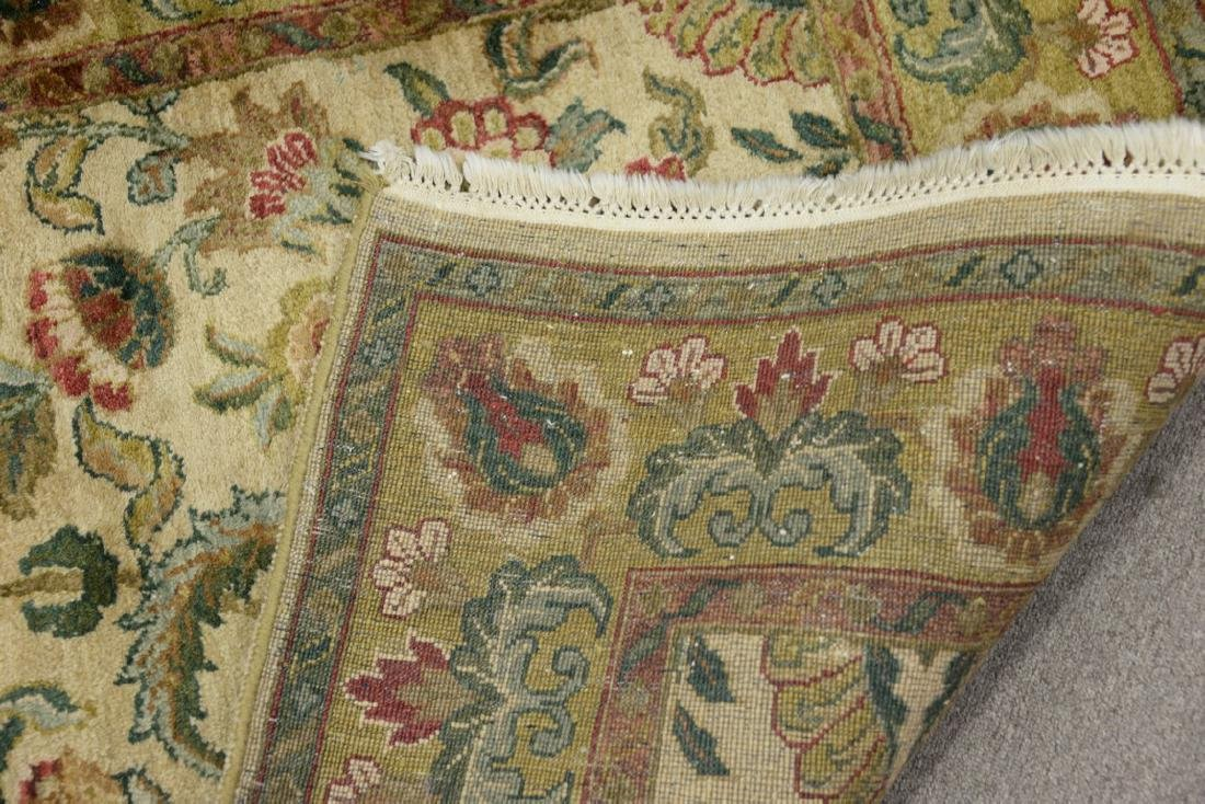 Oriental carpet runner, green and tan. 4' x 12' - 6