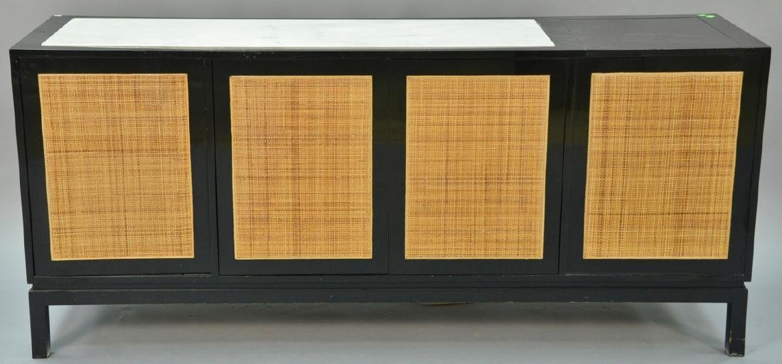 Mid-Century Probber style credenza, caned and marble