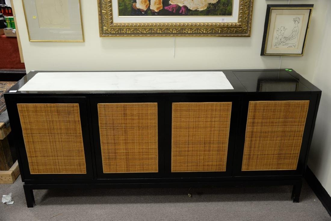 Mid-Century Probber style credenza, caned and marble - 2