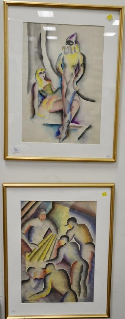 Four framed pieces to include an oil on canvas abstract