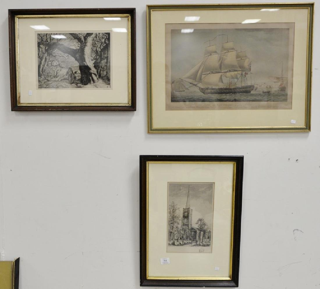 Seven framed prints and etchings including print after