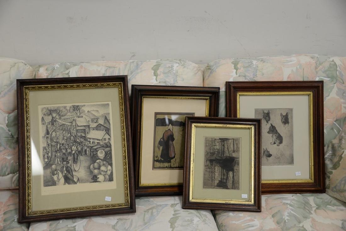 Seven framed prints and etchings including print after - 2