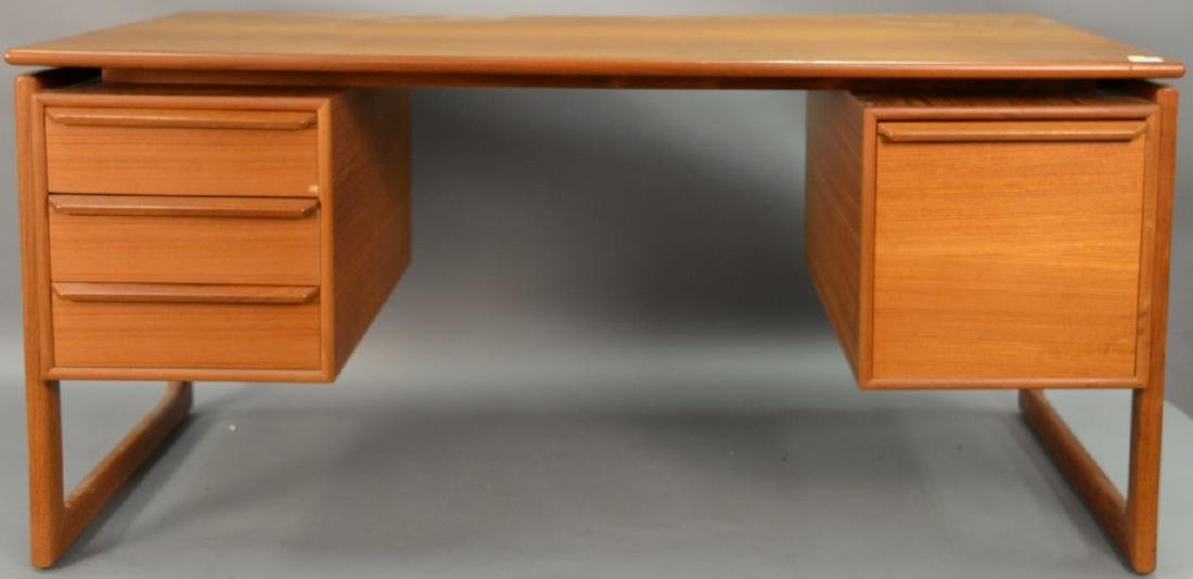 "Danish teak desk. ht. 28in., top: 29 1/2"" x 59"""