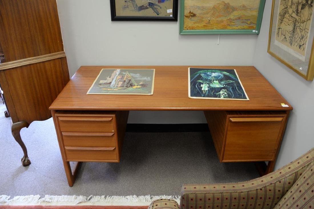 "Danish teak desk. ht. 28in., top: 29 1/2"" x 59"" - 2"