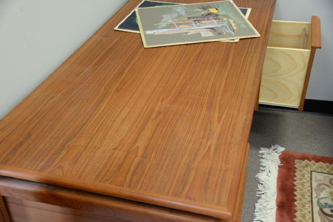 "Danish teak desk. ht. 28in., top: 29 1/2"" x 59"" - 5"