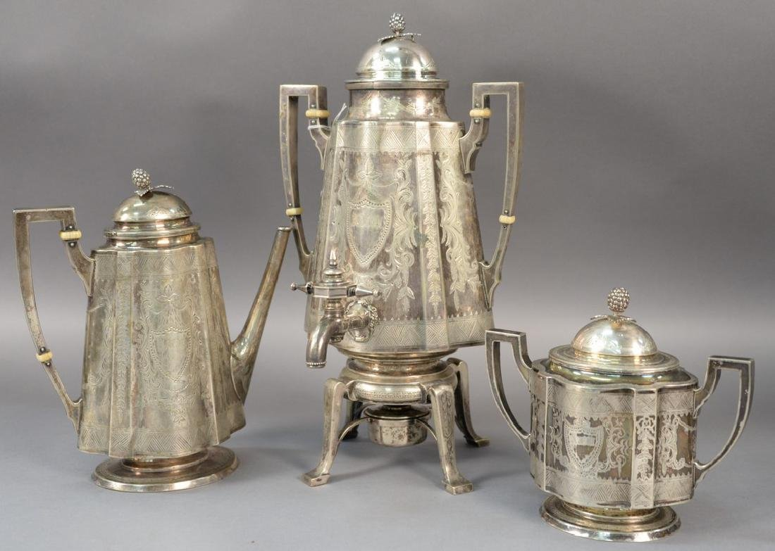 Three piece sterling silver Shreve Crump and Low tea