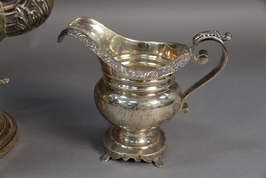 Two piece silver set including a hot water pot on stand - 2