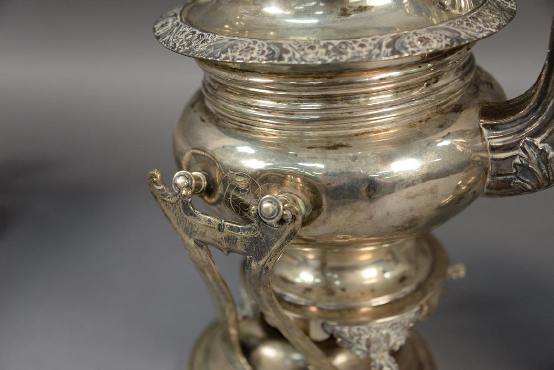 Two piece silver set including a hot water pot on stand - 3