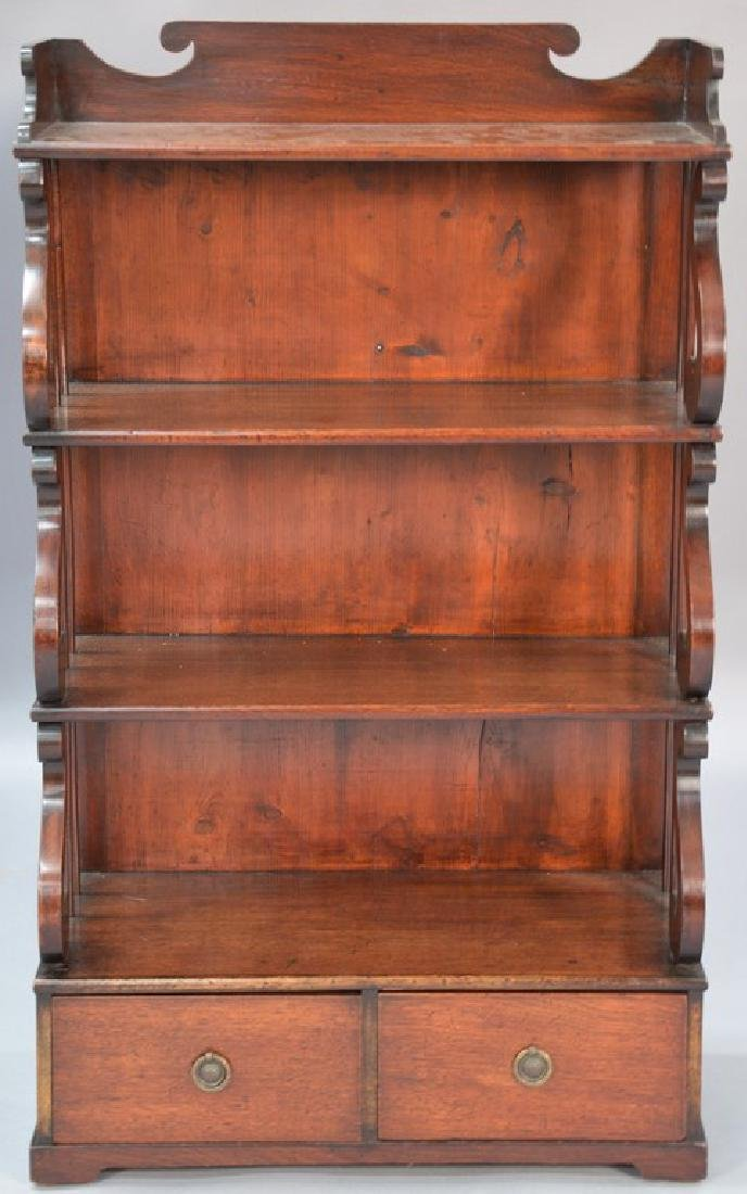 George III mahogany book stand with shelves over two