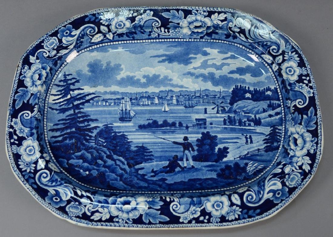 "Historical blue Staffordshire ""New York Heights from"