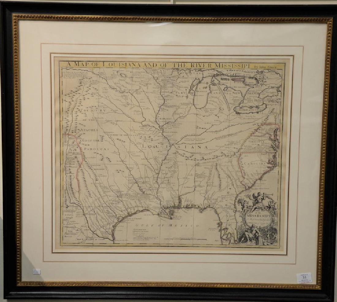 John Senex  engraved map with outlined color  Map of