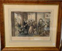 Currier  Ives  large folio hand colored lithograph