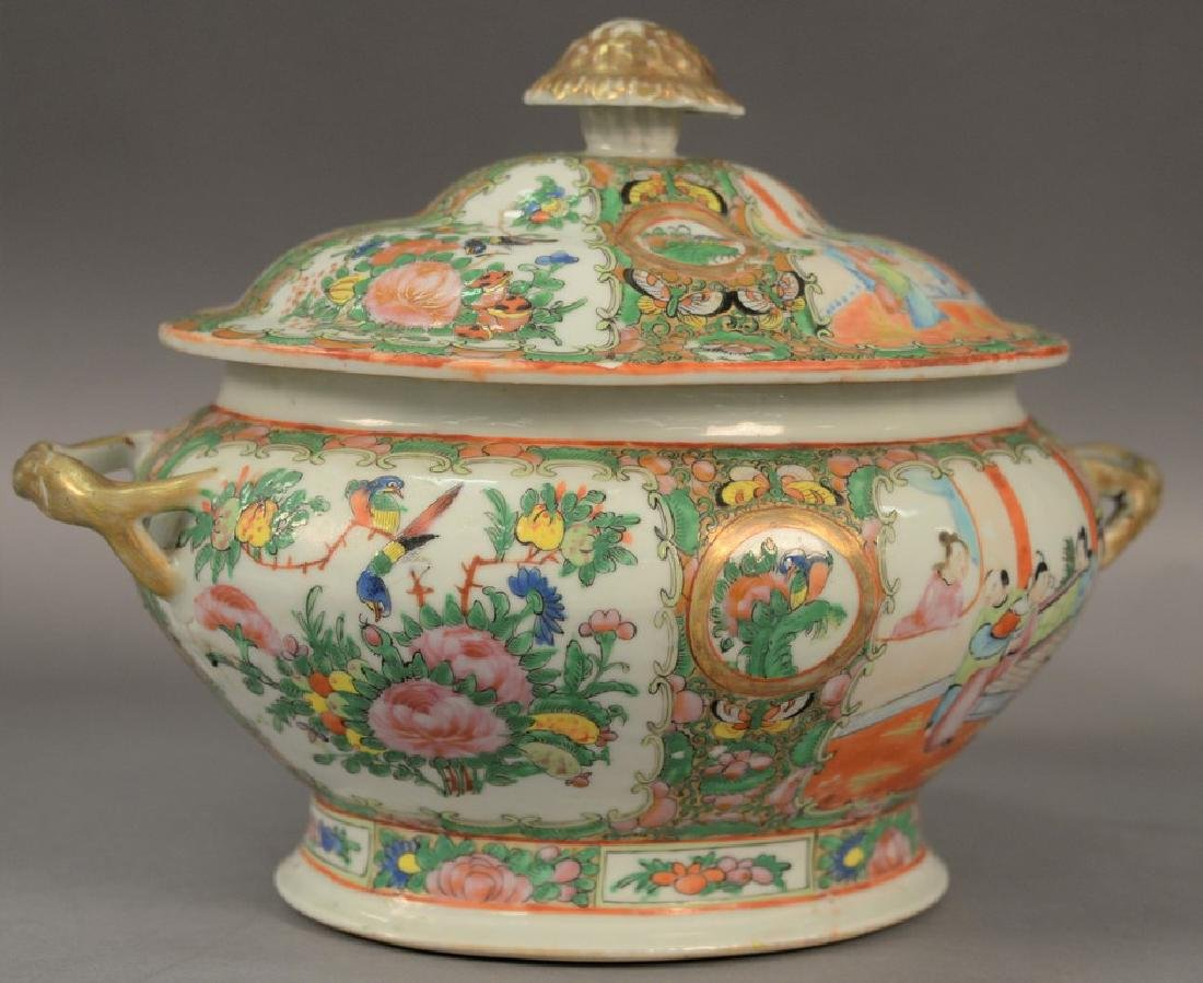 Famille Rose tureen.  ht. 9 1/2in., lg. 12in.