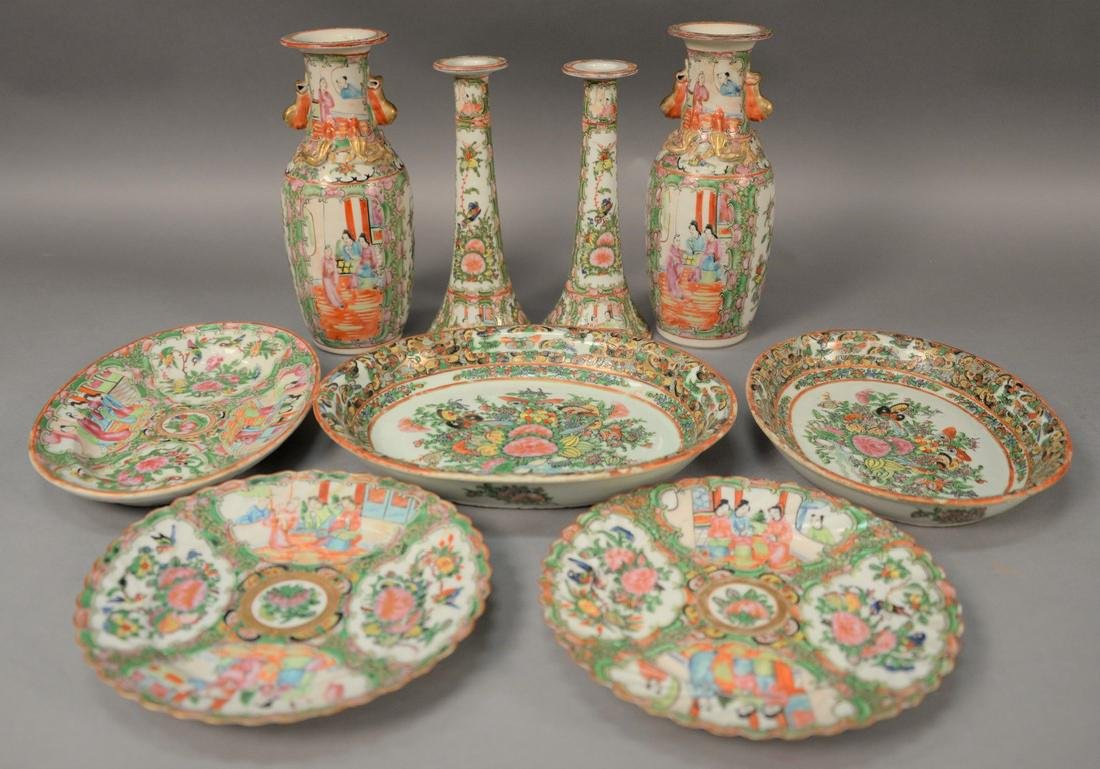 Nine piece lot of Rose Famille porcelain to include a