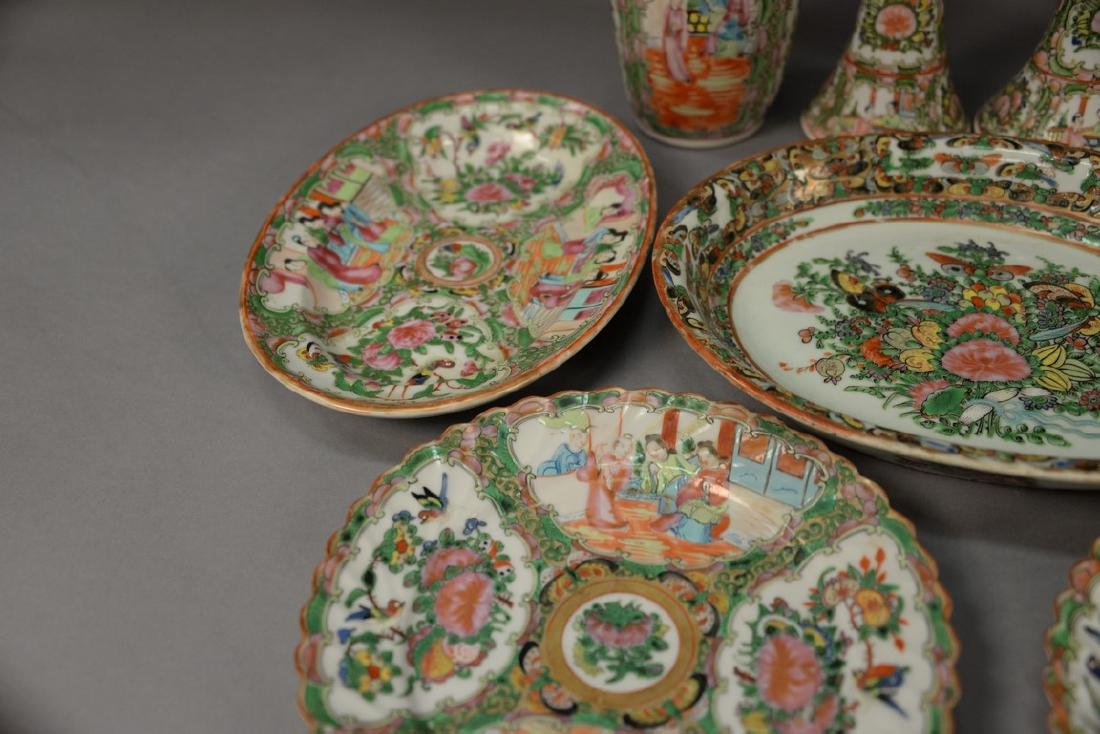 Nine piece lot of Rose Famille porcelain to include a - 3
