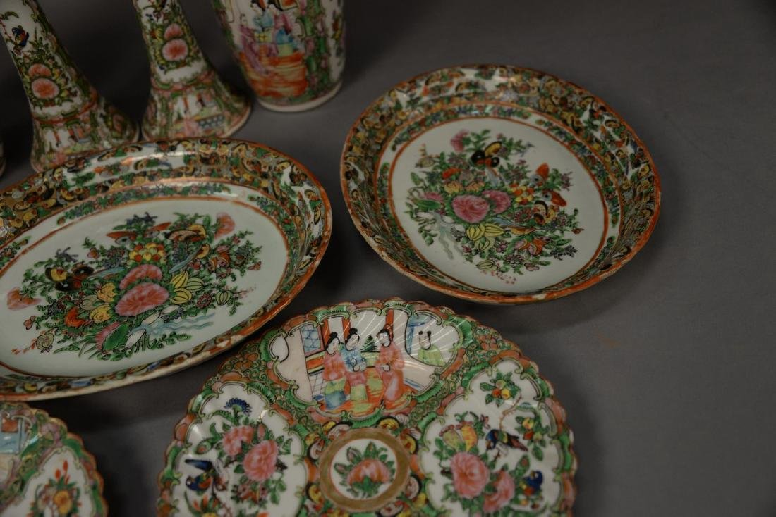 Nine piece lot of Rose Famille porcelain to include a - 4