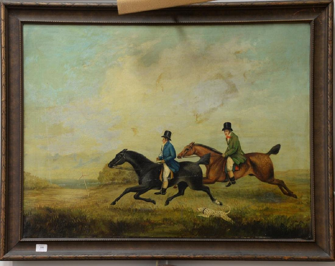 19th Century  oil on canvas  Two Riders on Horses with
