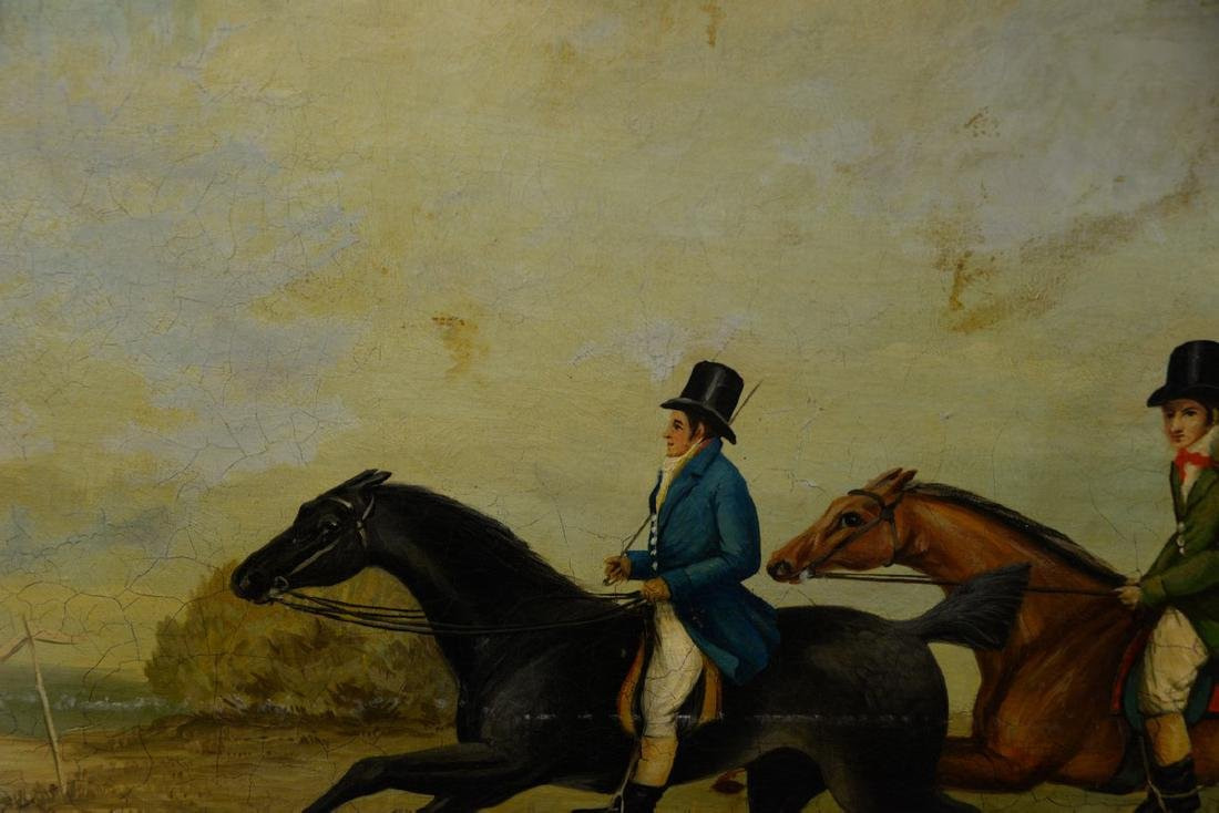 19th Century  oil on canvas  Two Riders on Horses with - 2